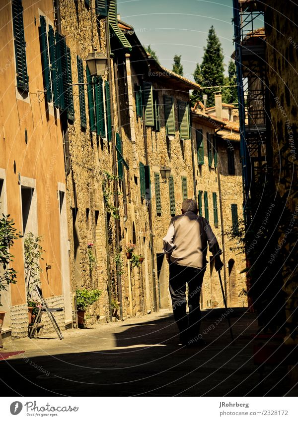 Old town with inhabitants Joy Happy Healthy Vacation & Travel Tourism Summer Masculine Male senior Man Grandfather Family & Relations Senior citizen Life 1