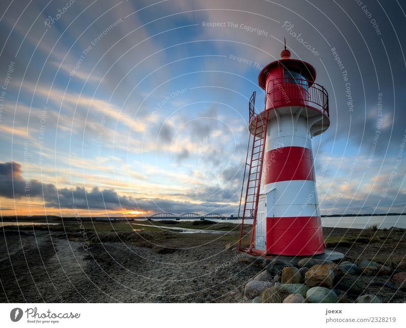 fries Sky Clouds Sunrise Sunset Beautiful weather Coast Denmark Bridge Lighthouse Blue Orange Red White Calm Horizon Idyll Colour photo Multicoloured