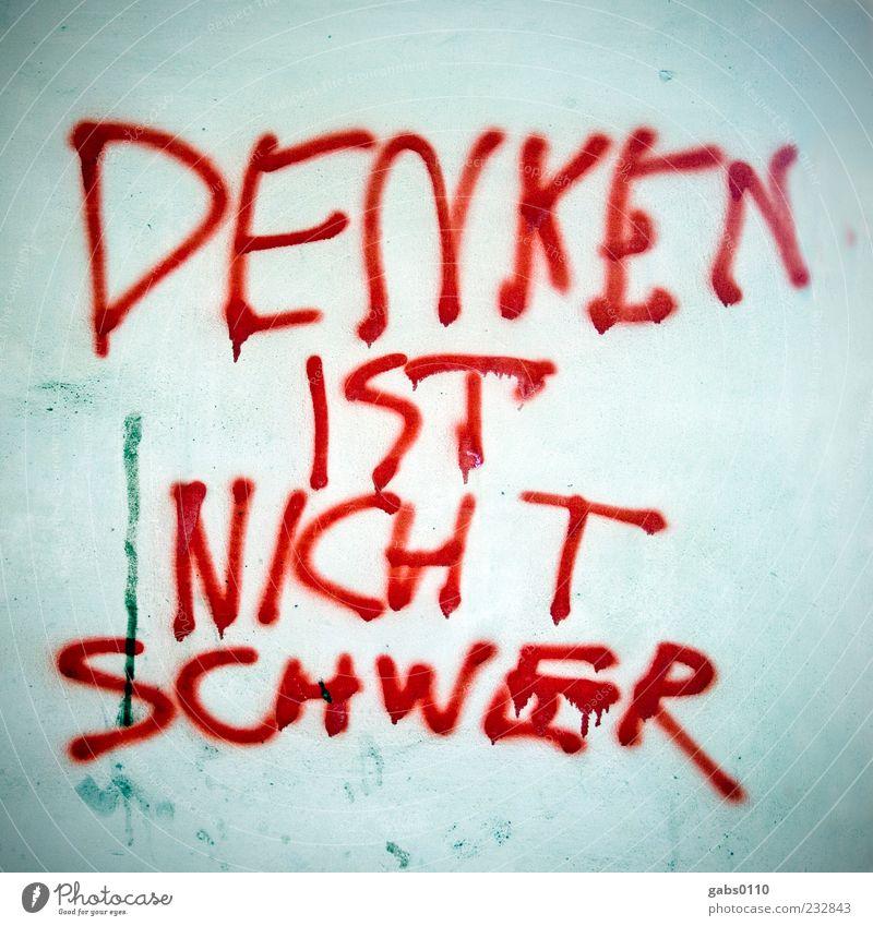 Blue White Red Graffiti Think Facade Characters Information Intellect Heavy Europe Awareness Figure of speech Daub Graz Vandalism
