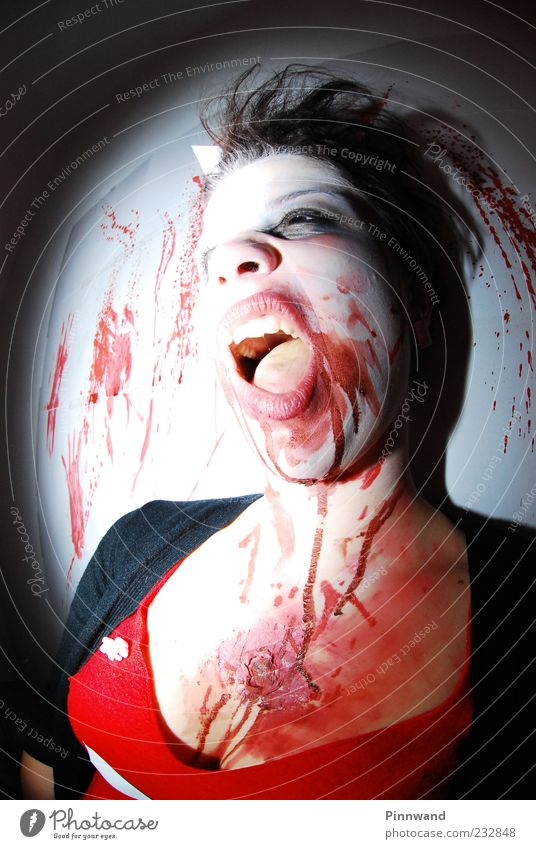 bloody party Meat Mascara Clothing Black-haired Aggression Dark Crazy Trashy Anger Determination Fear Horror Fear of death Dangerous Aggravation Revenge Force
