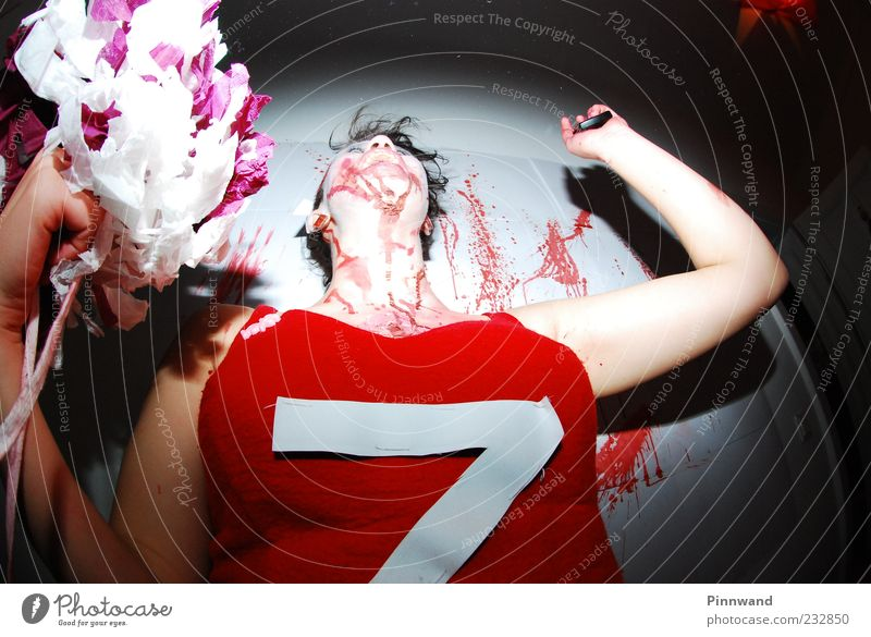 bloody partyIII Human being Beautiful Feminine Movement Party Dance Fear Dangerous Crazy Anger Force Fear of death Make-up Chaos Bizarre Destruction