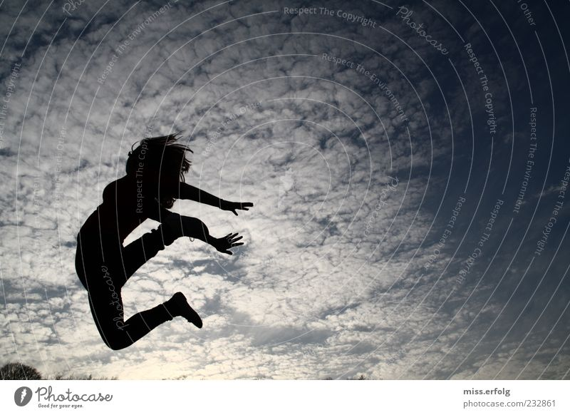Human being Sky Blue White Joy Clouds Black Movement Freedom Happy Jump Moody Air Flying Power Free