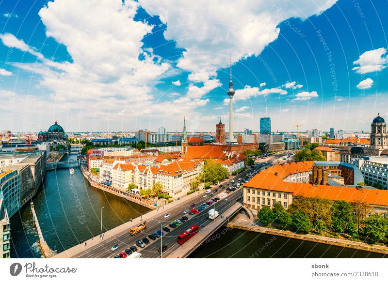Berlin Summer Panorama Vacation & Travel Town Capital city Skyline Tower Tourist Attraction Landmark Germany City architecture urban Colour photo Exterior shot