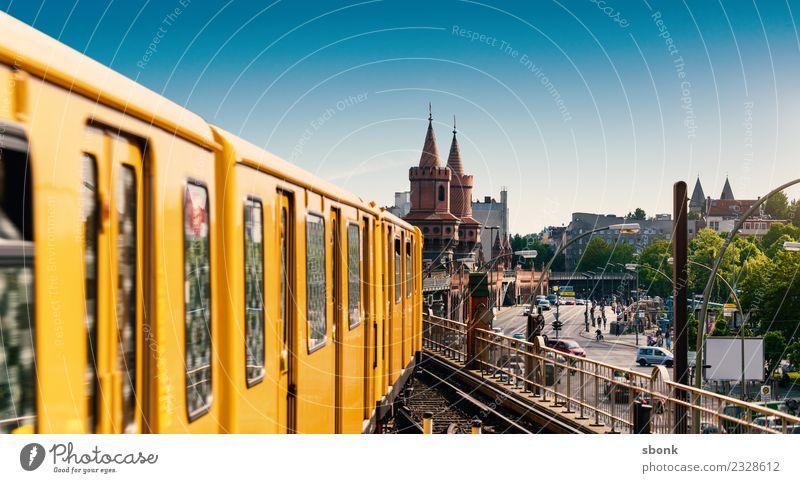 Rail travel in Berlin Vacation & Travel Town Capital city Skyline Oberbaumbrücke Bridge Rail transport Railroad Passenger train Commuter trains Underground Tram