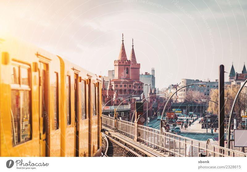 Vacation & Travel Town Berlin Germany Skyline Capital city Underground Train station Road traffic City Tram Kreuzberg Train travel Rush hour Commuter trains