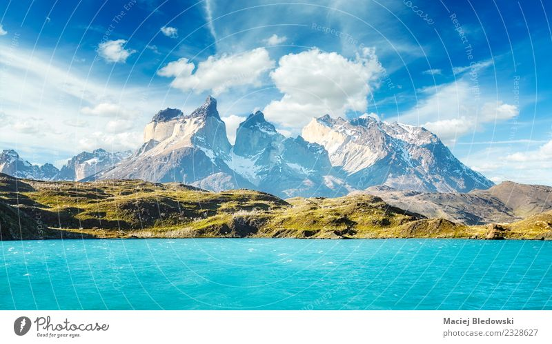 Torres del Paine National Park, Chile. Vacation & Travel Tourism Adventure Far-off places Freedom Cruise Expedition Summer vacation Waves Mountain Nature