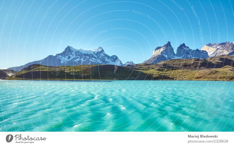 Pehoe Lake and Los Cuernos (The Horns), Chile. Sky Nature Vacation & Travel Landscape Sun Far-off places Mountain Tourism Freedom Trip Waves Vantage point