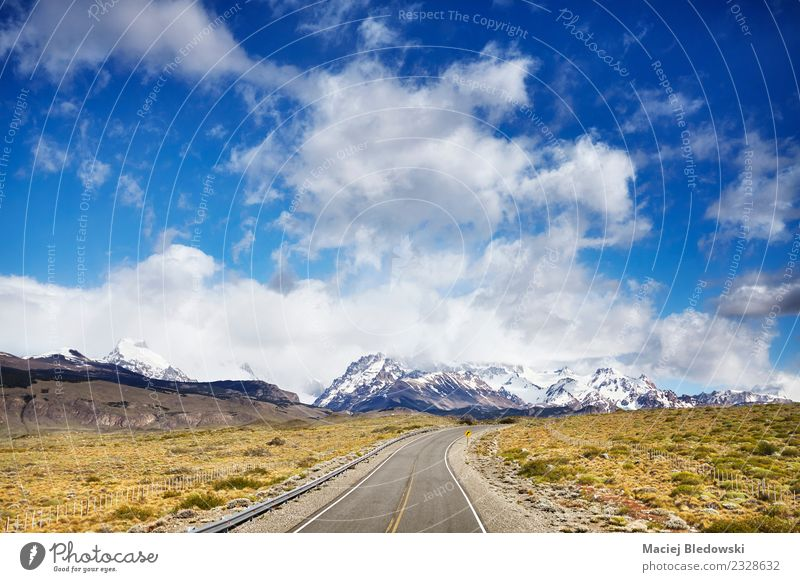 Road to El Chalten with Fitz Roy Mountain range. Sky Vacation & Travel Summer Landscape Clouds Far-off places Travel photography Street Tourism Freedom Trip
