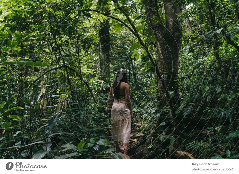 Young woman in the Brazilian rainforest Wellness Senses Relaxation Calm Meditation Vacation & Travel Tourism Trip Adventure Expedition Summer Summer vacation