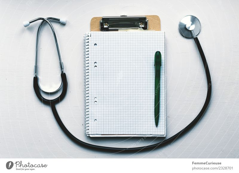 Notebook, clipboard and stethoscope on table Work and employment Profession Doctor Competent clamping board Ballpoint pen collegiate block Checkered Stethoscope
