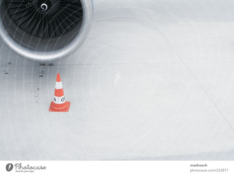 nozzle Aviation Transport Runway Airplane Passenger plane Airport Airfield Gray Jet engine Engines Colour photo Exterior shot Deserted Copy Space right