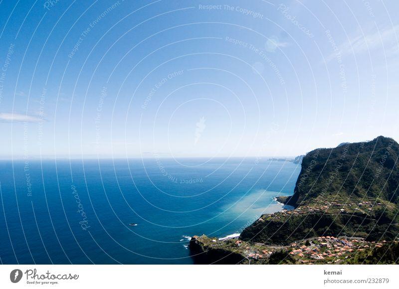 Sky Nature Blue Water Plant Sun Ocean Far-off places Environment Landscape Mountain Coast Horizon Rock Large Climate