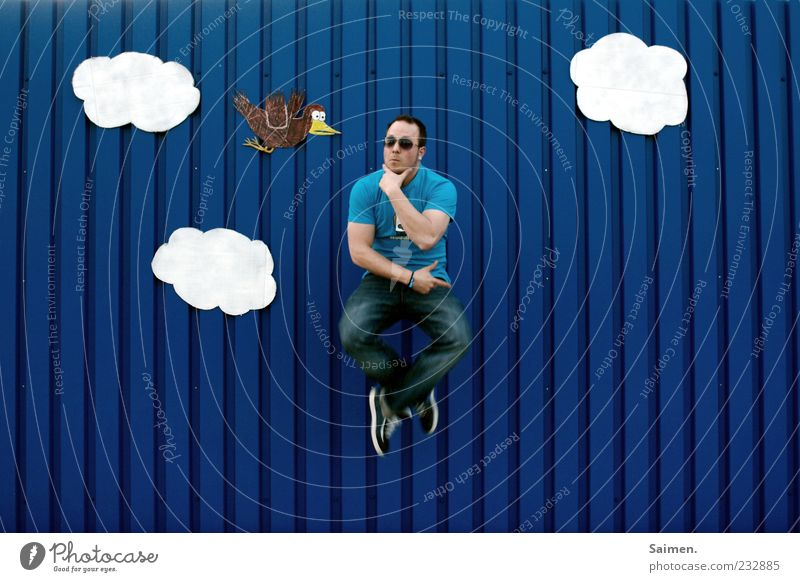 Human being Sky Man Youth (Young adults) Blue Joy Clouds Adults Wall (building) Movement Jump Wall (barrier) Think Funny Bird Contentment