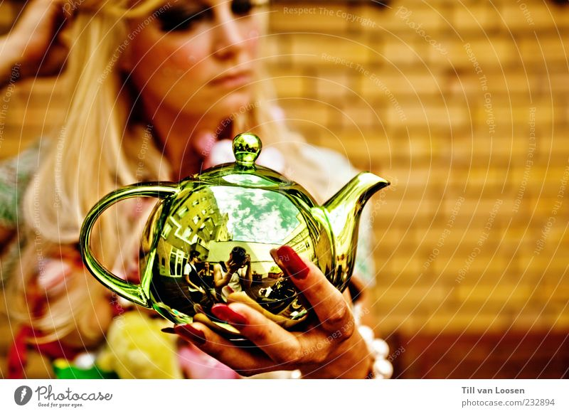 whole World n her Hands Crockery Sky Clouds Hair and hairstyles Blonde Long-haired Sphere Trashy Brown Gold Nail polish Jug Colour photo Exterior shot