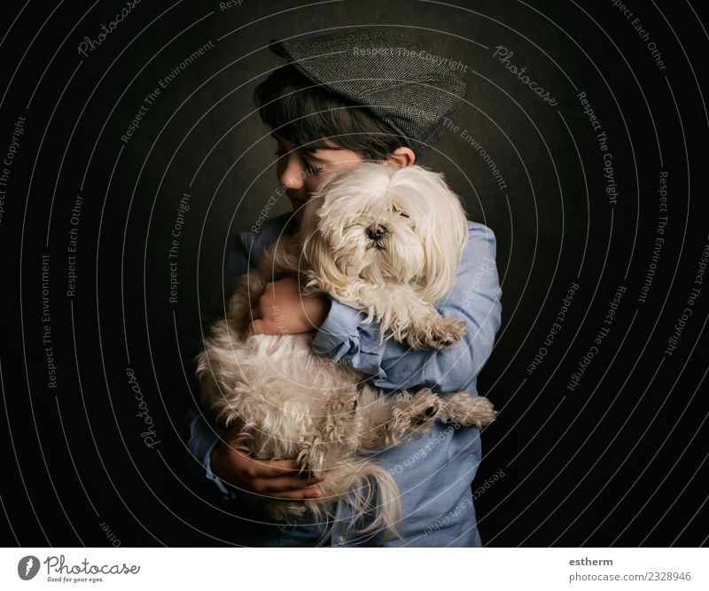 boy hugging his dog Lifestyle Joy Human being Masculine Child Toddler Boy (child) Infancy 1 3 - 8 years Animal Pet Dog Baby animal To hold on Smiling Together