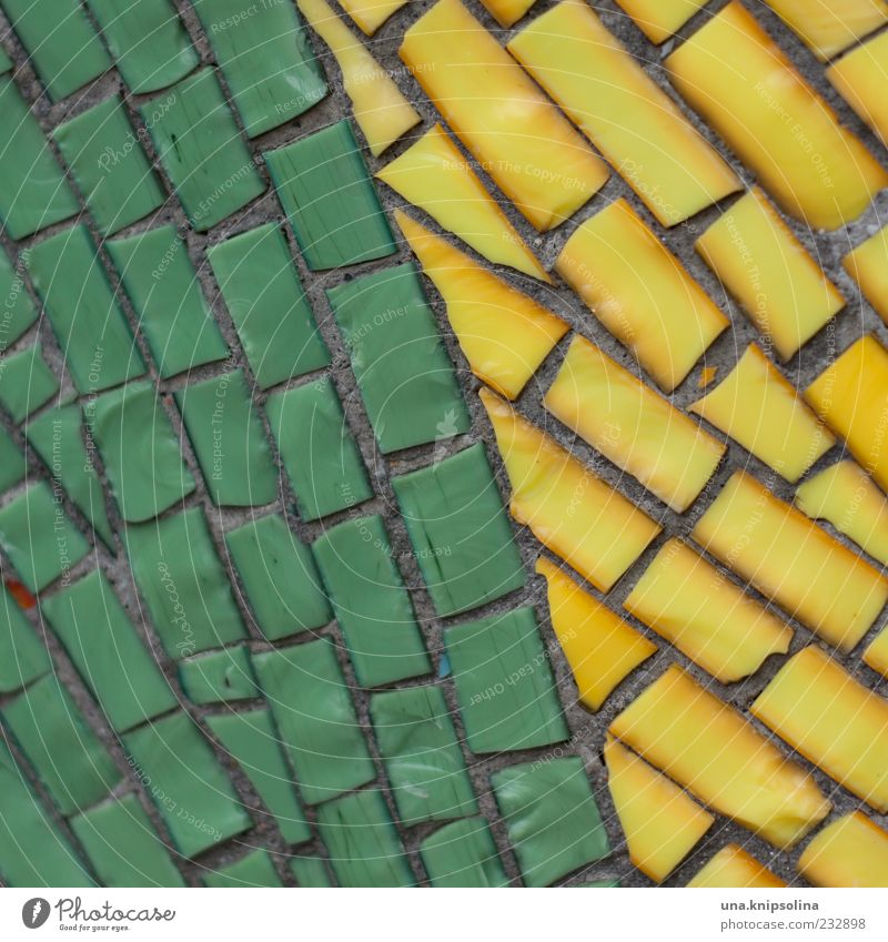 mosaic Wall (barrier) Wall (building) Facade Mosaic Yellow Green Stone Decoration Multicoloured Seam Copy Space Colour photo Close-up Detail Pattern