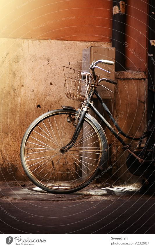 Got so far,, Means of transport Street Bicycle Moody Colour photo Exterior shot Evening Shadow Light (Natural Phenomenon) Bicycle tyre Retro Old Basket Parking