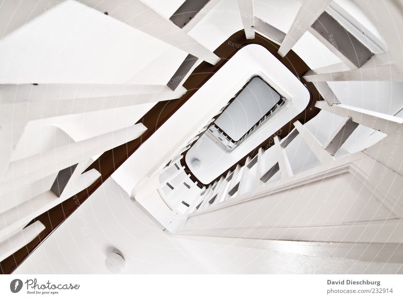 stairwell Stairs Gray White Staircase (Hallway) Handrail Wood Banister Line Spiral Go up Downward Tall Clean Pure Rectangle Canceled Depth of field Bright