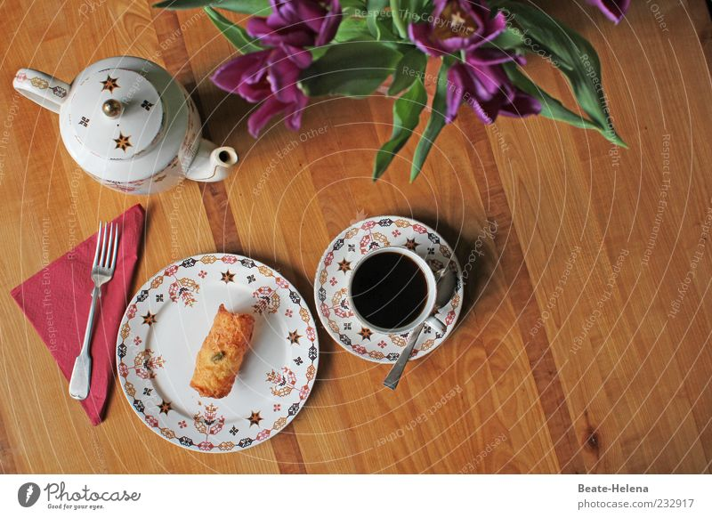 White Eating Brown Contentment Gold Beginning Beverage Coffee Round Bouquet Candy Crockery Cake Tulip Baked goods Fork