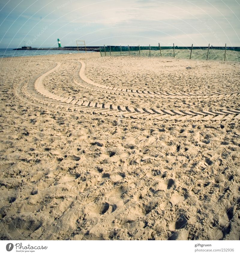beach rally Environment Nature Landscape Elements Sand Water Beautiful weather Coast Beach Baltic Sea Ocean Tower Lighthouse Manmade structures Building Tracks