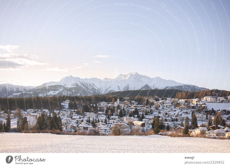 flims Environment Nature Landscape Winter Beautiful weather Snow Alps Mountain Cold Blue Flims Switzerland Mountain village Village idyll Winter vacation