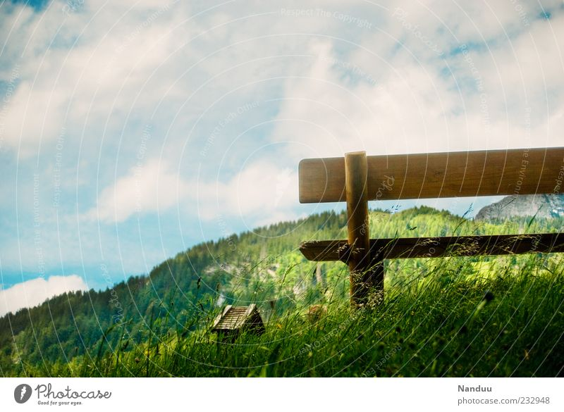 Landscape Calm Clouds Mountain Environment Meadow Grass Idyll Beautiful weather Alps Kitsch Bench Seating Bavaria Alpine pasture Destination