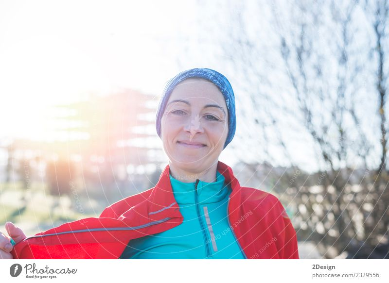 portrait of a runner woman at the park after running Lifestyle Beautiful Healthy Athletic Summer Sports Fitness Sports Training Sportsperson Jogging Human being