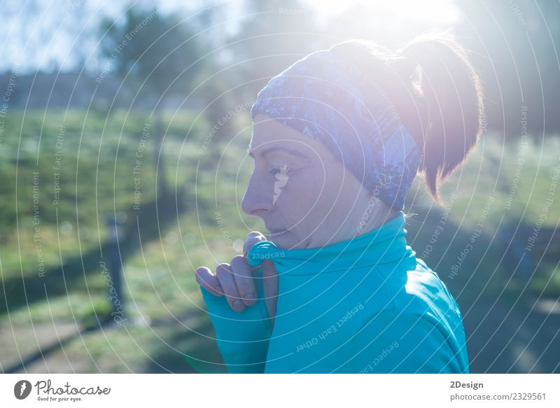 portrait of a runner woman at the park after running Woman Human being Nature Summer Beautiful Adults Lifestyle Sports Park Stand Action Fitness Athletic Model