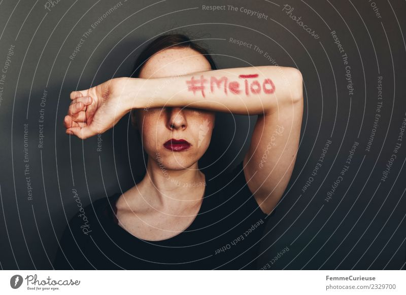 Woman showing #MeToo on her arm Feminine Young woman Youth (Young adults) Adults 1 Human being 18 - 30 years 30 - 45 years Sign Characters Sex Sexuality