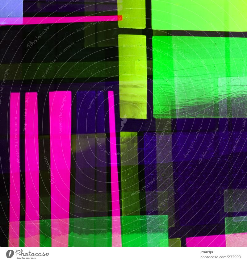 Green Colour Line Art Glass Pink Design Modern Exceptional Crazy Decoration Illuminate Uniqueness Chaos Hip & trendy Double exposure