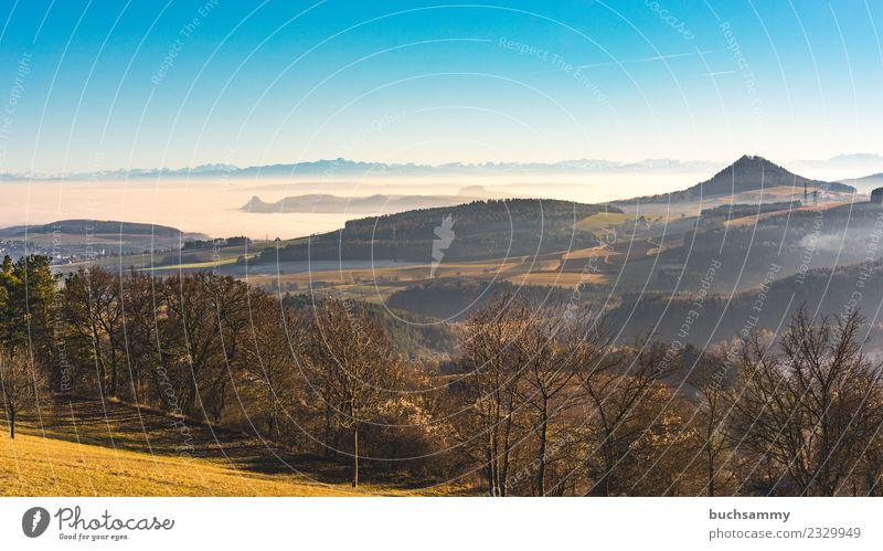 Hegau Landscape Vacation & Travel Nature Weather Fog Tree Meadow Field Forest Alps Volcano Hiking outlook Haze Europe hegau Sky Habitat panorama Germany