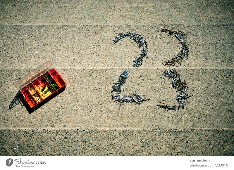 24 Concrete Uniqueness Whimsical Concrete floor Digits and numbers 3 23 Nail Screw Rawplug Stairs Toolbox Colour photo Day Sunlight Bird's-eye view Box Plastic