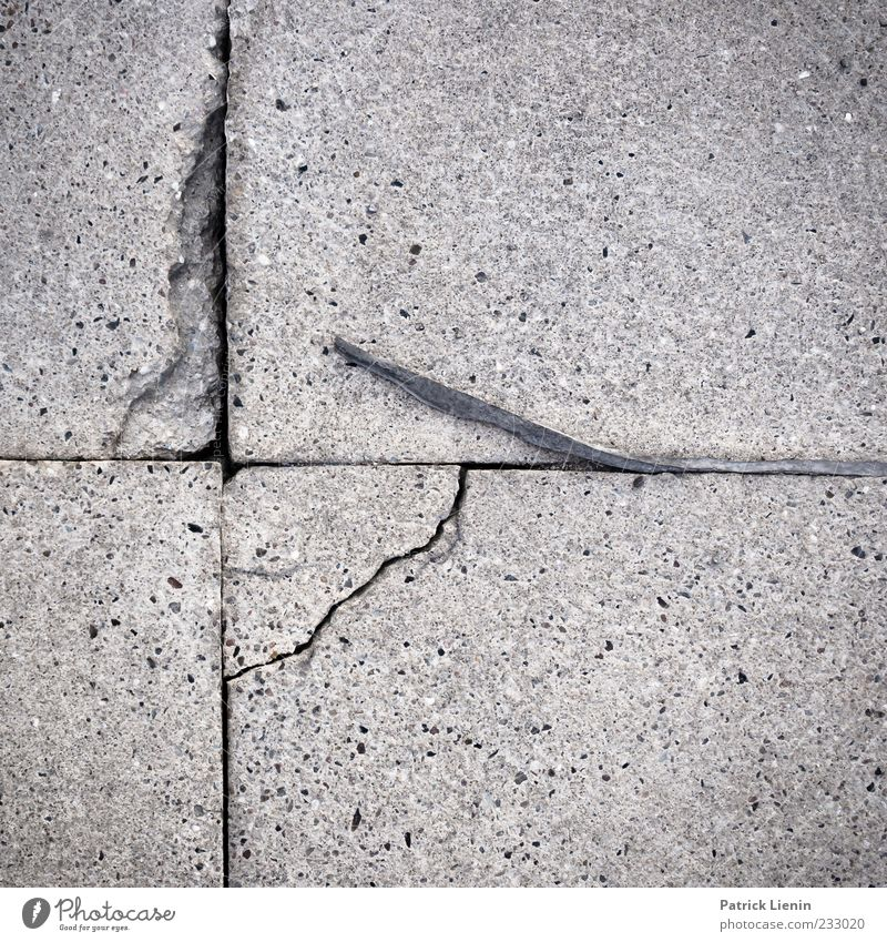 time gap Deserted Stone Concrete Line Old Broken Gloomy Gray Symmetry Environment Destruction Crack & Rip & Tear Paving tiles Exterior shot Close-up Pattern