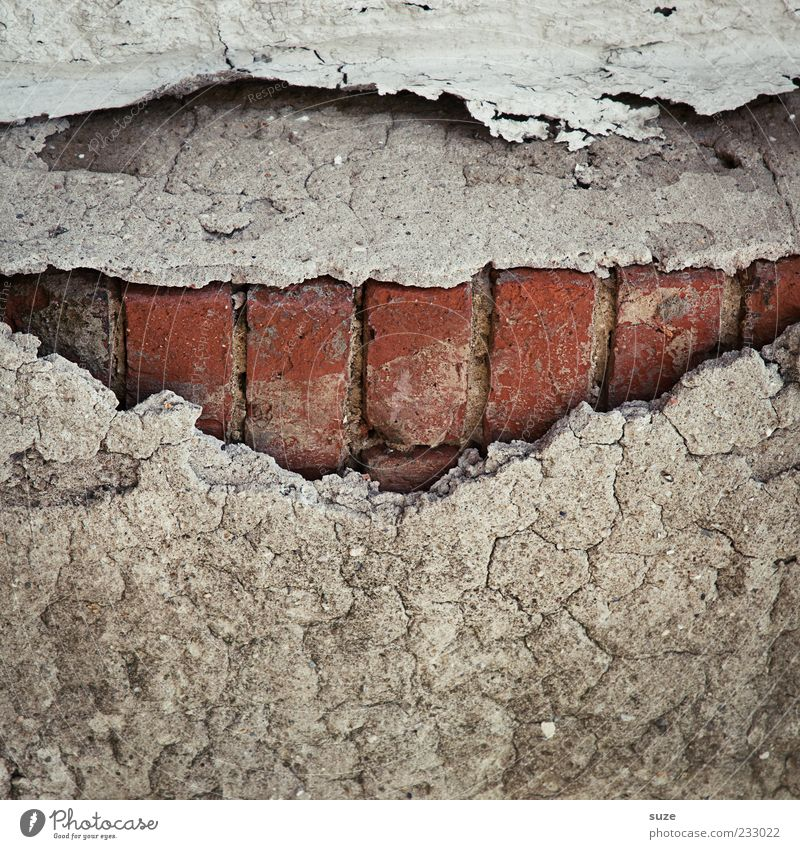 Old Red House (Residential Structure) Wall (building) Wall (barrier) Gray Exceptional Gloomy Smiling Mouth Broken Uniqueness Teeth Dry Past Decline