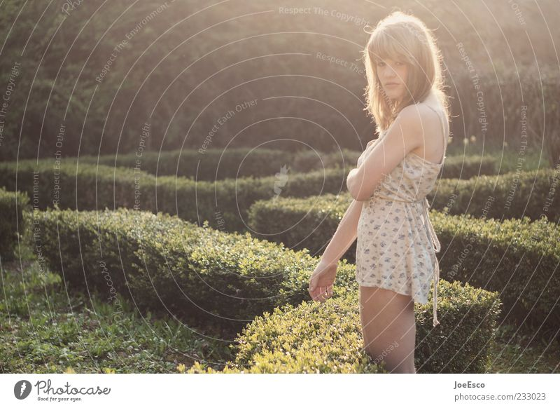 Woman Nature Youth (Young adults) Beautiful Summer Adults Relaxation Life Emotions Garden Style Dream Park Blonde Wait Natural