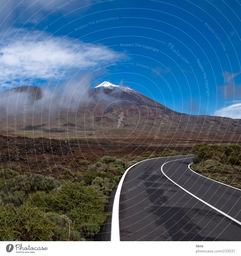 to the summit Mountain Nature Landscape Elements Sky Clouds Beautiful weather Bushes Snowcapped peak Volcano Street Beginning Uniqueness Teide Tenerife Canaries
