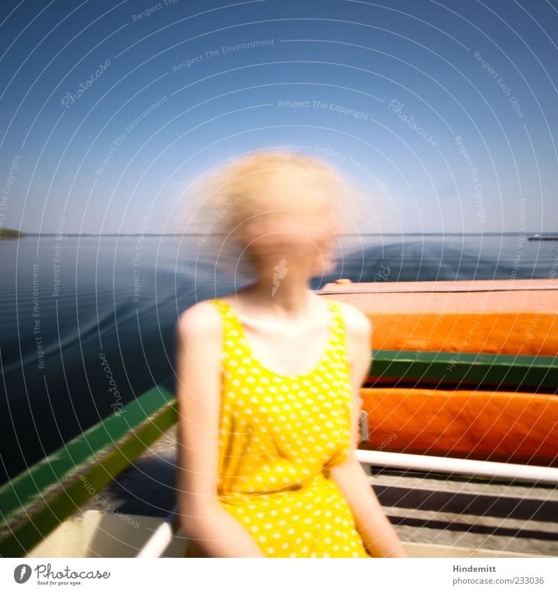 #233036 Trip Sun Waves Boating trip Feminine Young woman Youth (Young adults) 1 Human being Lake Lake Chiemsee Dress Long-haired Movement Relaxation