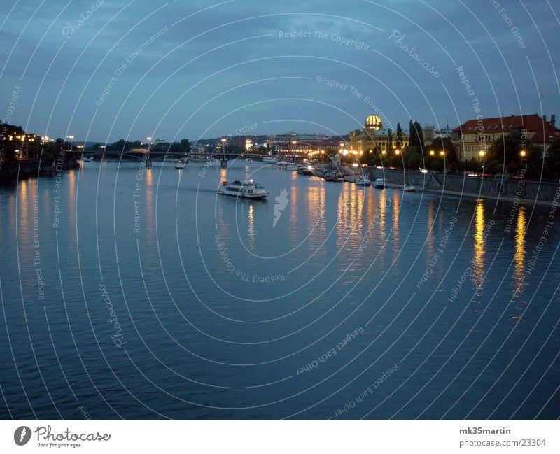 Evening Prague Night Light Reflection Watercraft Europe