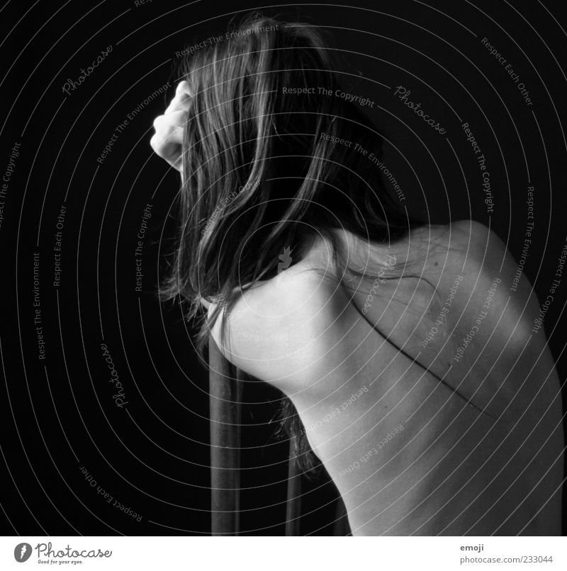 Back. Feminine Young woman Youth (Young adults) 1 Human being 18 - 30 years Adults Dark Thin Sharp-edged Gray Black Sit Posture Shoulder Spinal column Anatomy