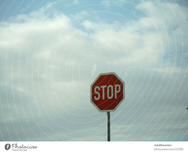 STOP! Road sign Clouds Red Things Stop sign Signs and labeling octagon 8-corner