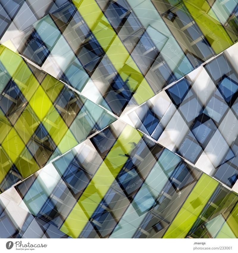 A Cross Style Design Building Facade Window Line Exceptional Uniqueness Modern Blue Green White Chaos Colour Perspective Surrealism Symmetry Double exposure