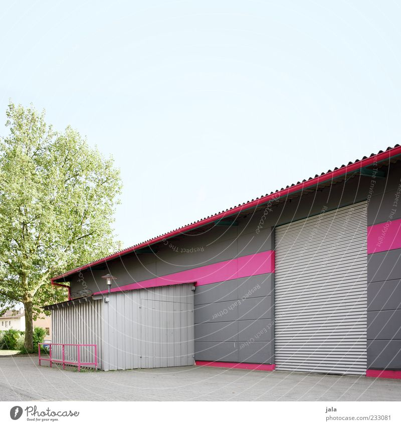 Tree Architecture Gray Building Pink Manmade structures Factory Gate Tin Cloudless sky Industrial plant Factory hall Rolling door