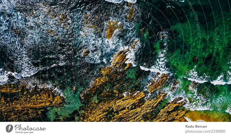 Aerial View Of Ocean Waves Crushing On Rocky Beach Nature Summer Beautiful Green Water Landscape Far-off places Environment Exceptional Earth Brown Above