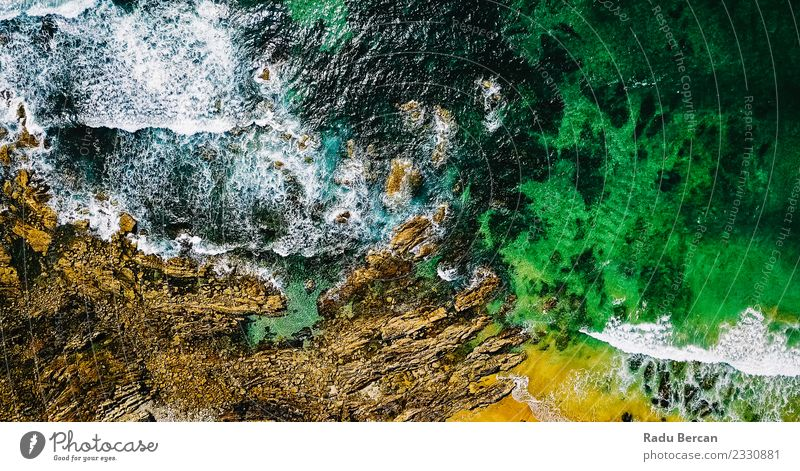 Aerial View From Flying Drone Of Ocean Waves Environment Nature Landscape Sand Water Summer Weather Beautiful weather Hill Rock Coast Beach Vacation & Travel