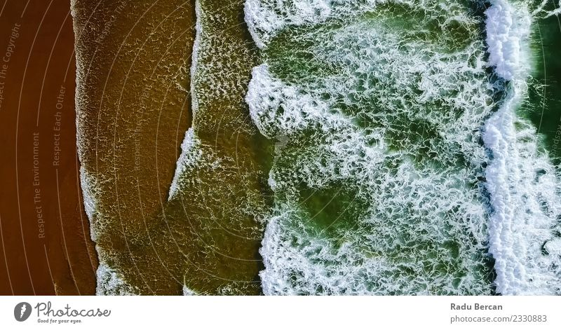 Aerial View Of Ocean Waves Crushing On Beach Nature Vacation & Travel Summer Colour Beautiful Water Landscape Environment Coast Sand Weather Adventure Wind