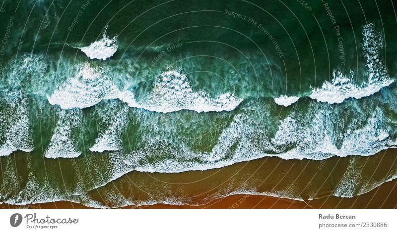 Aerial View From Flying Drone Of Ocean Waves Crushing On Beach Nature Vacation & Travel Summer Blue Colour Green Water Landscape Warmth Environment Coast Brown