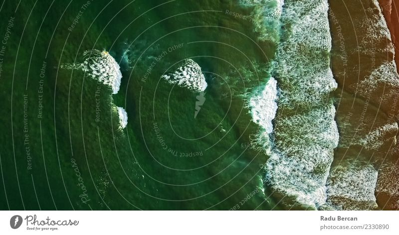 Aerial View From Flying Drone Of Ocean Waves Environment Nature Landscape Water Weather Coast Beach Bay Island Exotic Beautiful Natural Green Adventure Energy