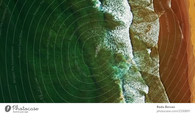 Aerial View From Flying Drone Of Ocean Waves Nature Vacation & Travel Summer Beautiful Colour Water Landscape Beach Far-off places Environment Coast Sand Above