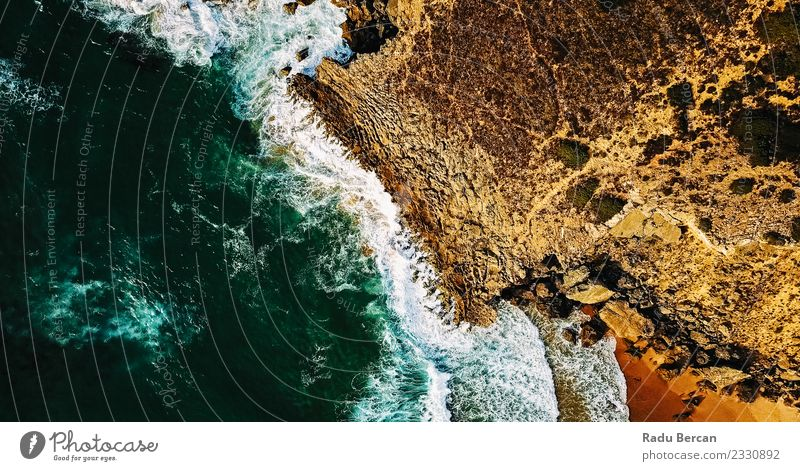 Aerial View Of Ocean Waves Crushing On Rocky Beach Nature Vacation & Travel Summer Blue Beautiful Colour Water Landscape Yellow Environment Coast Brown Orange