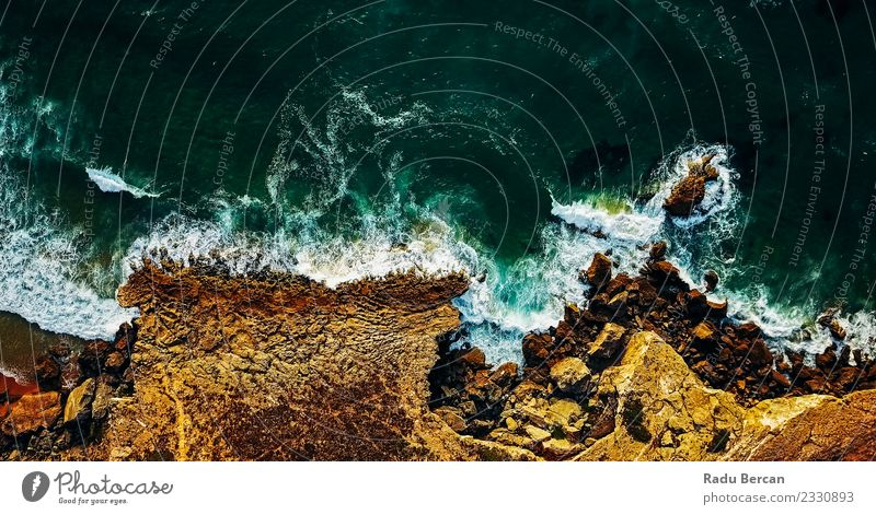 Aerial View From Flying Drone Of Ocean Waves Crushing Nature Vacation & Travel Summer Colour Beautiful Water Landscape Beach Far-off places Warmth Environment